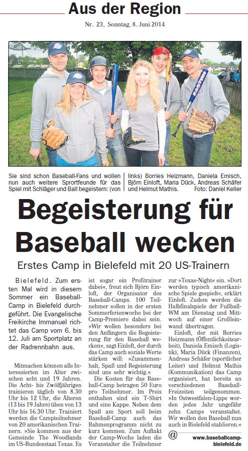 Baseball Camp in der OWL am Sonntag vom 8. Juni 2014